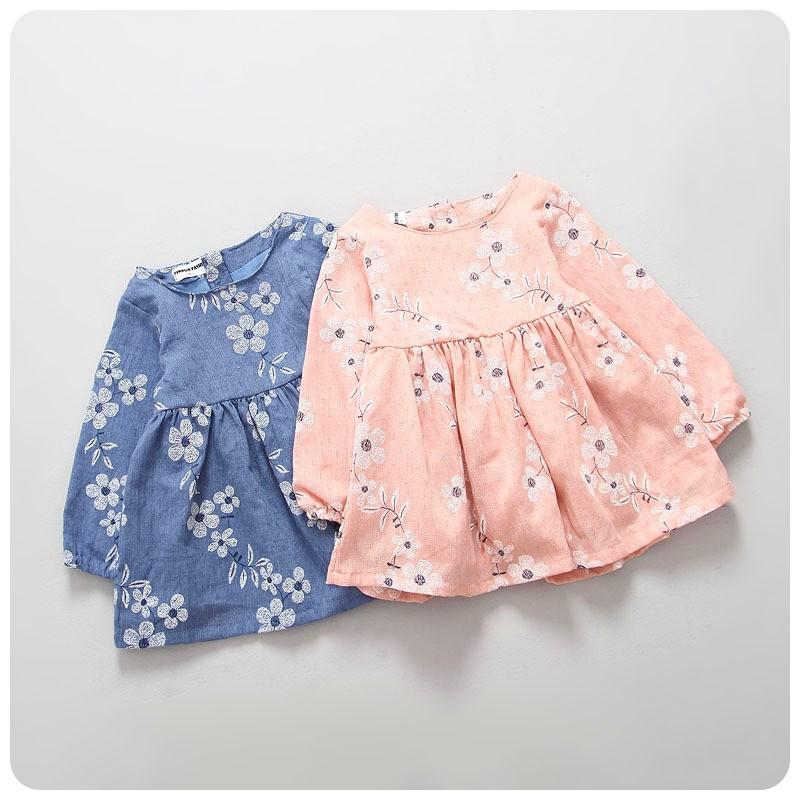 2016 棉麻 女童女寶寶花朵刺繡連身裙連衣裙小洋裝氣質公主裙 加