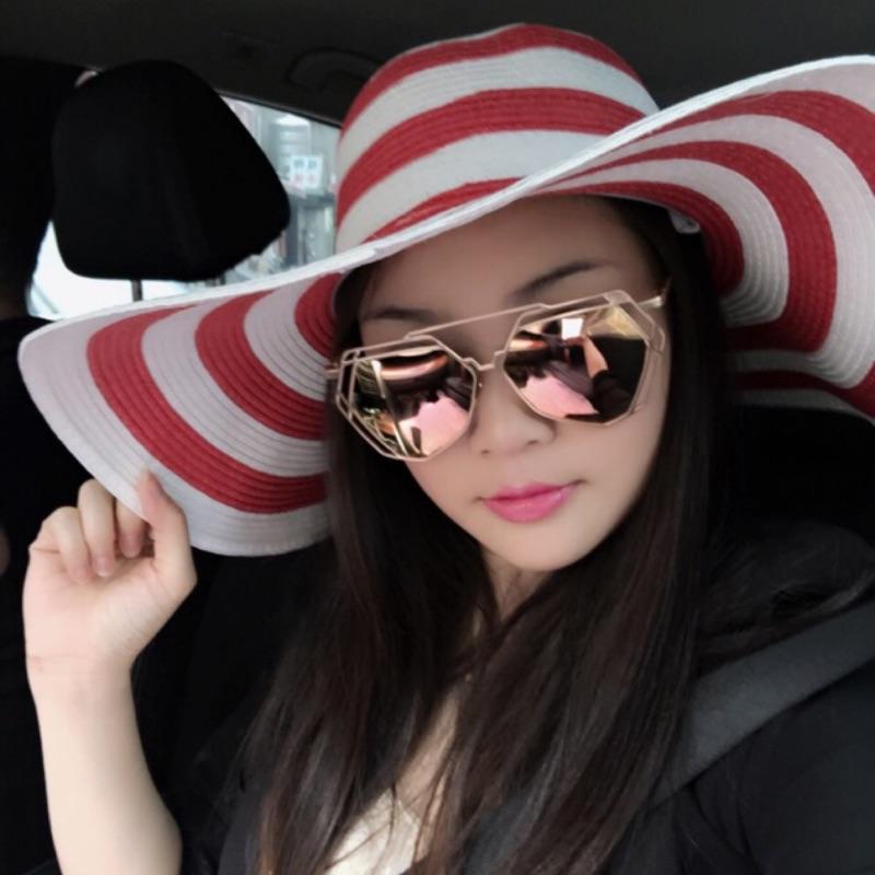 瀅瀅小舖QF029 紅白條紋遮陽帽  大沿沙灘帽草帽防曬帽太陽帽子