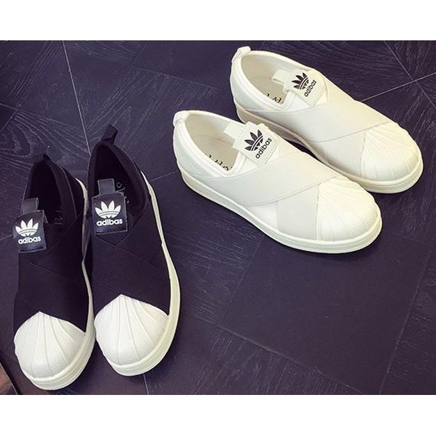 貝殼鞋頭彈性交叉鬆緊帶滑板鞋繃帶鞋休閒鞋懶人鞋 ) 價
