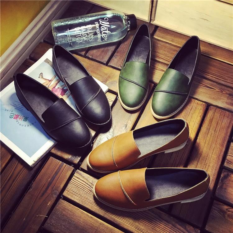 ✙日韓風✙復古黑色上班鞋圓頭平底單鞋英倫風小皮鞋一腳蹬懶人鞋女布洛克鞋