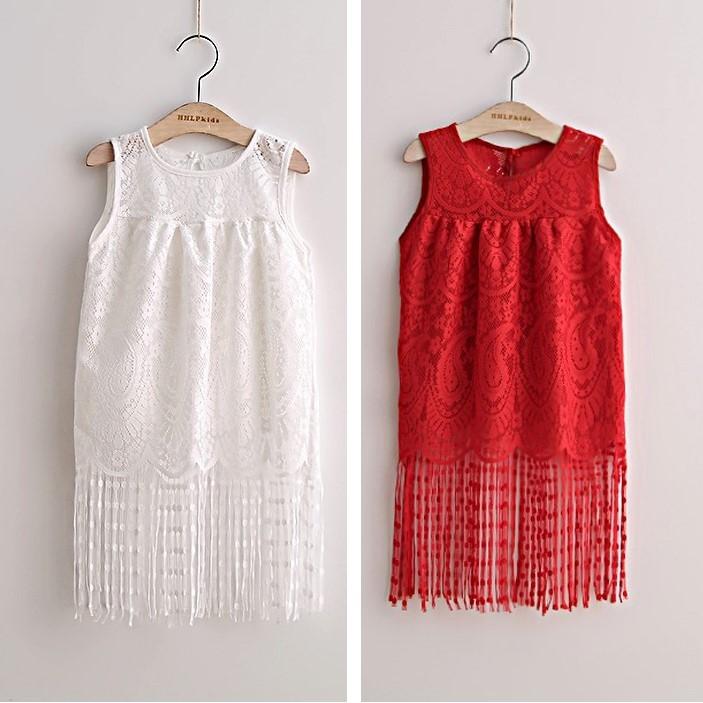 A9409 夏裝女童鏤空繡花蕾絲流蘇公主裙兒童連衣裙 洋裝紅色、白色