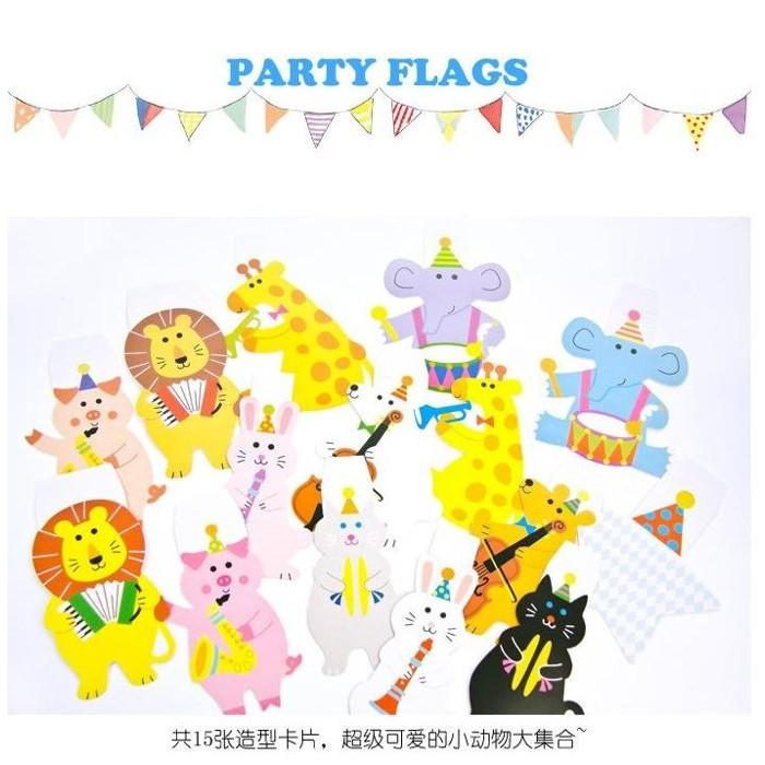 ~草莓花園~G15 卡通動物派對彩旗套裝生日節慶聚會紙質裝飾品兒童房佈置櫥窗佈置party