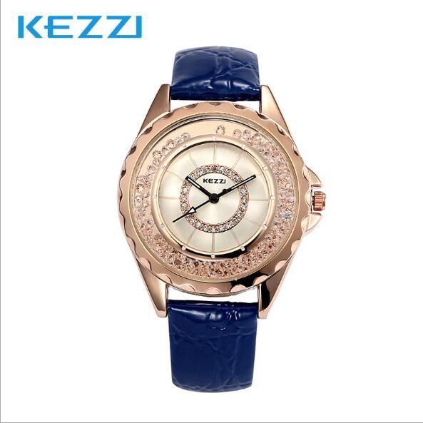 夢幻石英防水手錶女士手錶鑲鑽皮帶女錶