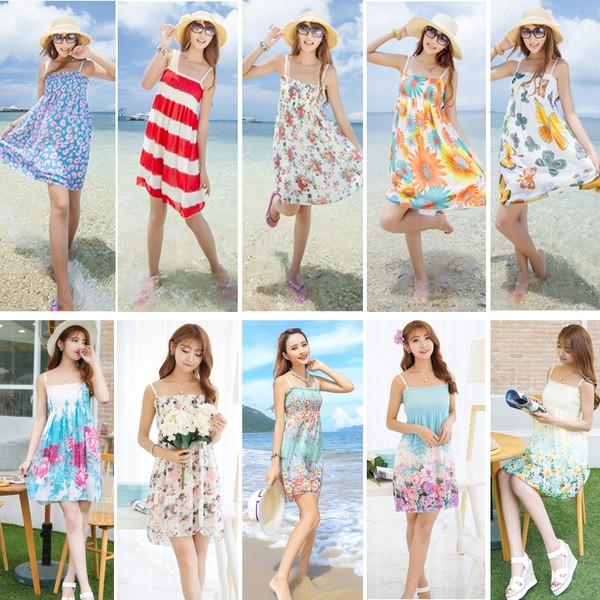 抹胸吊帶顯瘦度假裙子女沙灘短裙波西米亞海邊碎花雪紡連衣裙