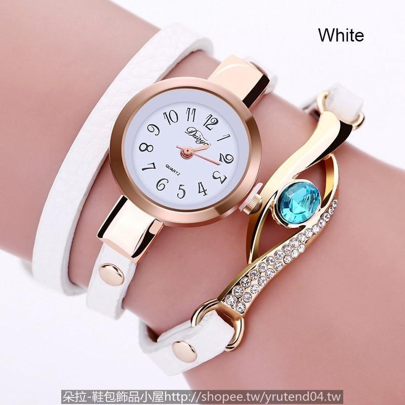 女士寶石鑲鑽繞圈手鏈手錶duoya 女性水晶寶石手錶皮革金手鐲類比石英腕表