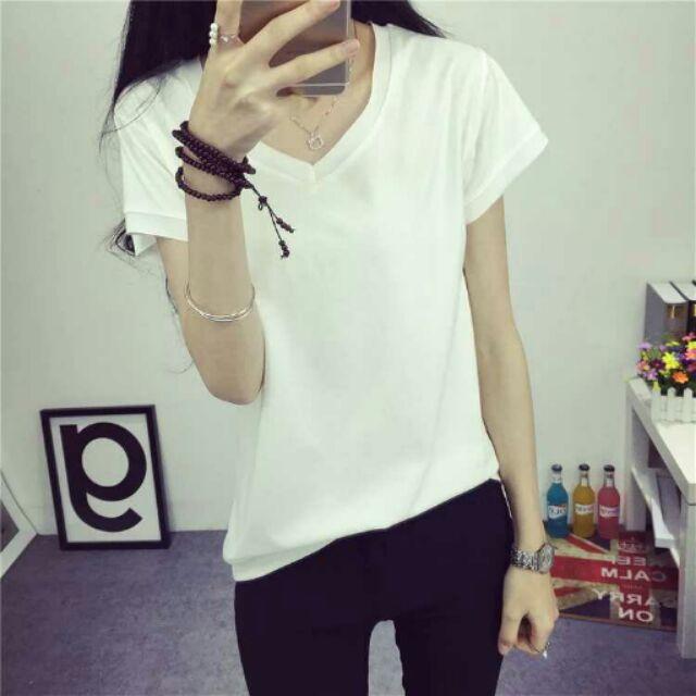 T 恤女短袖白色顯瘦小衫打底衫純色捲邊V 領修身百搭 上衣潮(共5 色)