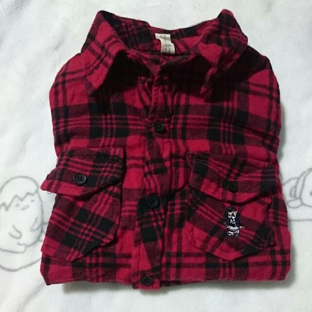 復古刺繡熊熊紅黑格紋短版襯衫