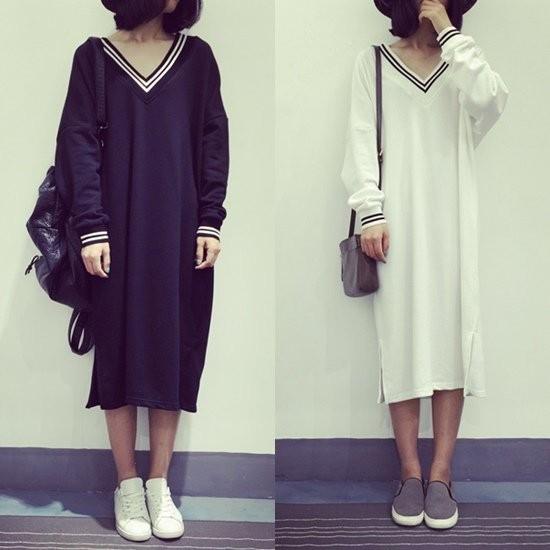 ╭~長袖洋裝簡約條紋V 領連衣裙白~gcd0029