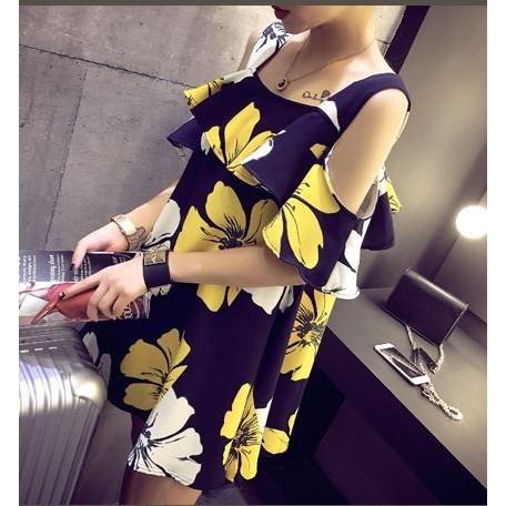 2016 露肩炫彩撞色印花吊帶荷葉邊連身裙