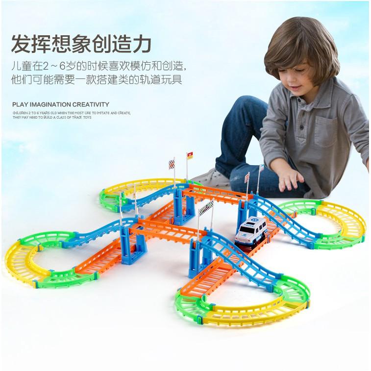 ~兒童玩具~兒童益智拼裝電動軌道車百變雙層城市軌道小火車玩具3041 6A