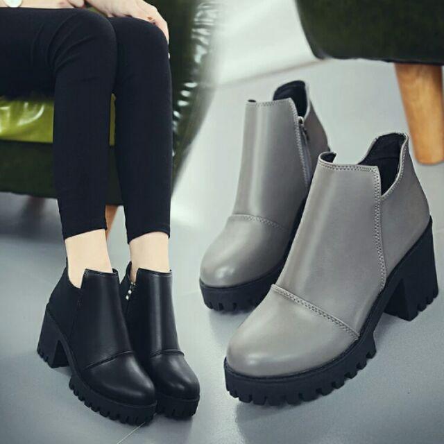 馬丁靴女短靴圓頭側拉鍊粗跟女靴英倫風短簡約女靴