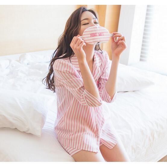 ~甜美可愛~韓國東大門超萌の粉紅豹條紋睡衣套裝口袋虎頭刺繡上衣短褲眼罩三件套家居服