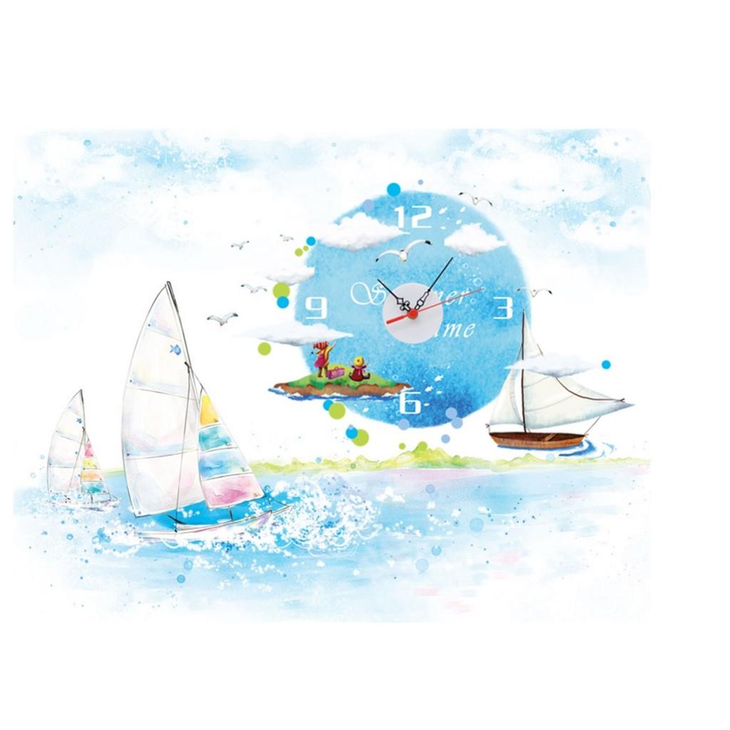 海洋帆船DIY 壁貼時鐘壁貼牆貼防水牆壁貼客廳佈置兒童房佈置 居家室內牆貼時鐘掛鐘 貼