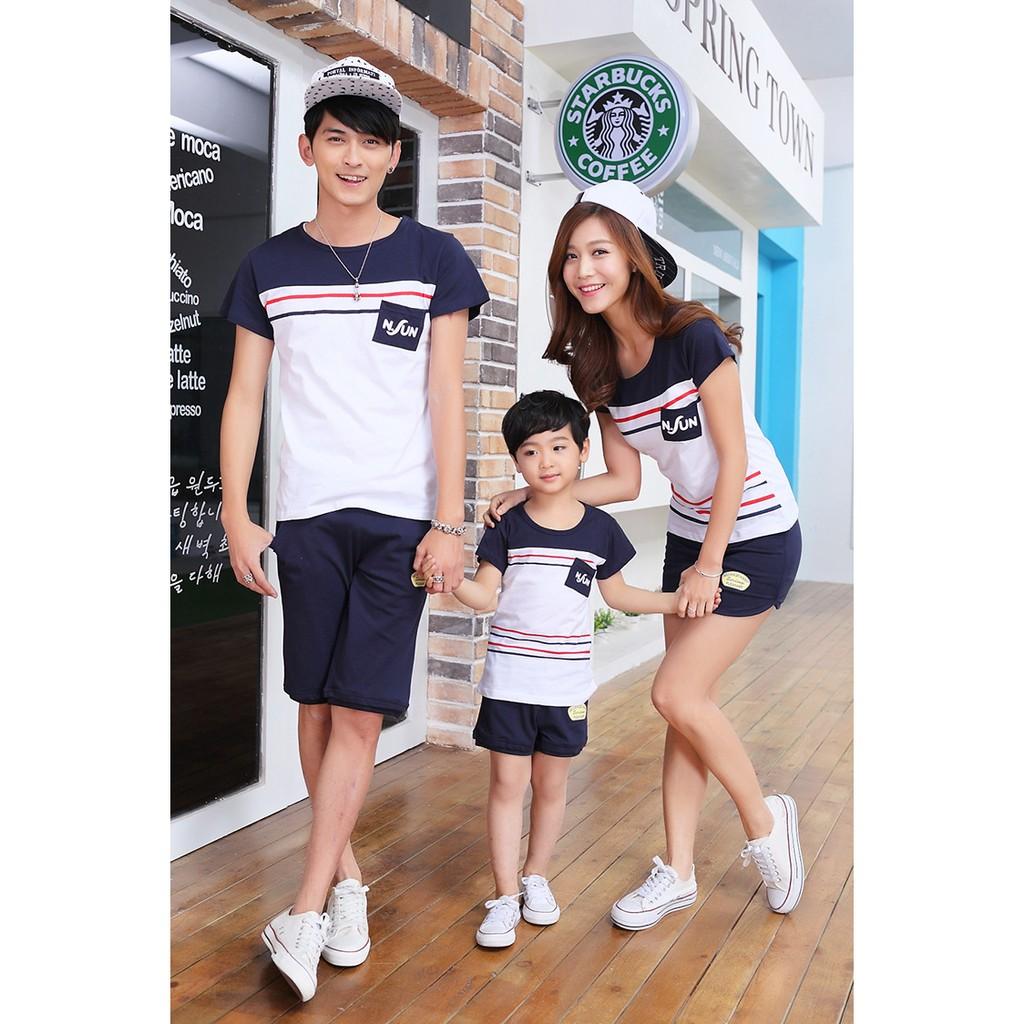 紅藍條紋純棉T恤( )親子裝 家庭裝全家福裝母子裝父子裝情侶裝班服團體服
