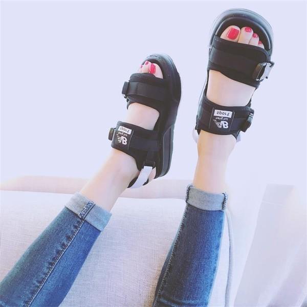 ✨香港 ✨大牌同款魔鬼氈繃帶厚底黑色涼鞋男女款35 43 碼