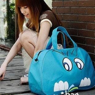 桐桐小屋大容量旅行包手提旅行大包卡通印花單肩包斜跨包行李包