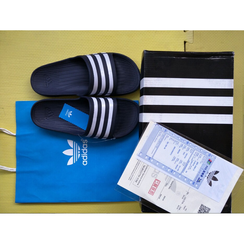 系列 兩樣起免 , 300 一雙! 愛迪達adidas 三葉草深藍白拖鞋男女尺寸齊全37