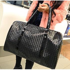新上市~ 手提袋 菱格紋皮質潮男女 大容量旅行包復古編織樣式潮行李袋附側背帶單肩包男包女包