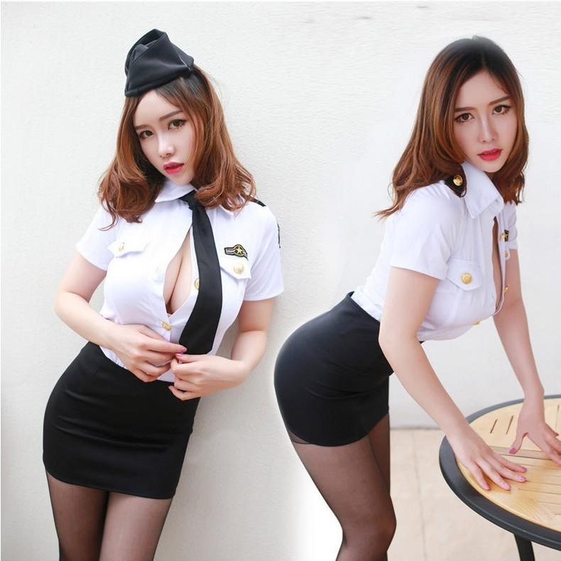 1258 小碼加大韓國女裝修身貼身空姐韓國表演服彈性好厚實上衣短裙帽子領帶空姐制服表演服C