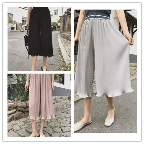 百褶雪紡闊腿褲寬鬆高腰七分女褲木耳邊褶皺裙褲60602