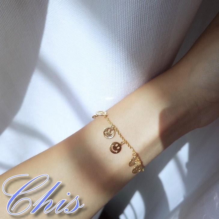 Chis Store ~金屬微笑圓片細緻手鍊~韓國 笑臉金色細繩手環垂墜吊飾俏皮淘氣正能量