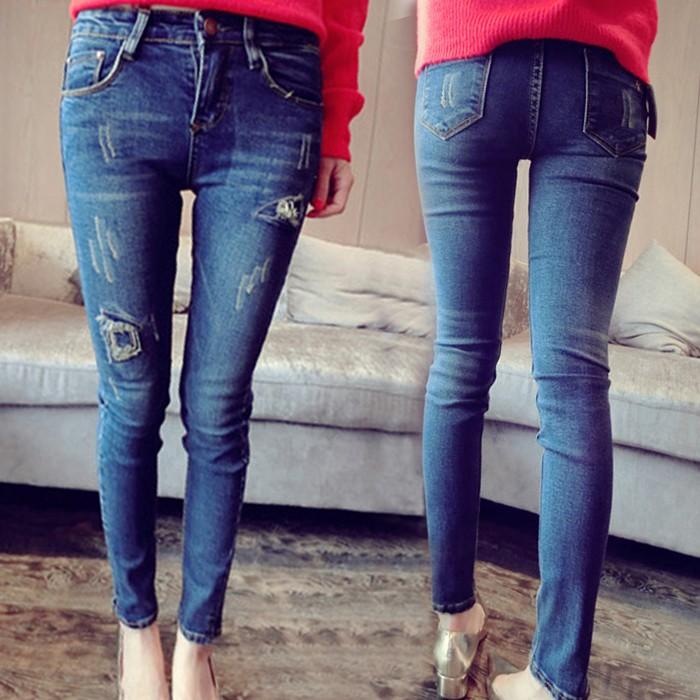 韓國 破洞補丁毛邊藍色牛仔褲女九分小腳褲鉛筆褲學生長褲