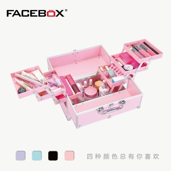 FACEBOX 大號手提化妝箱子多層折疊美甲彩妝帶鎖紋繡工具箱