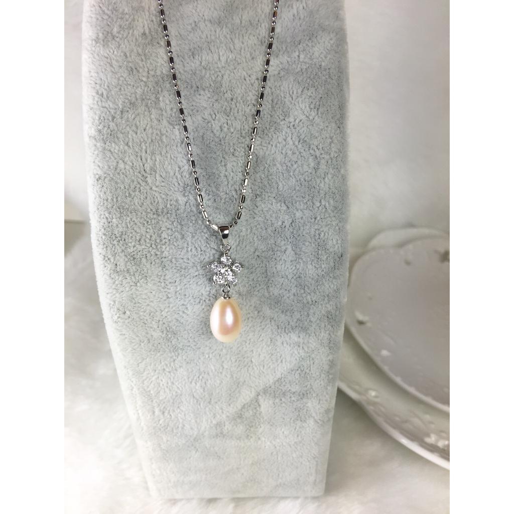 ~維納斯珠寶~100 純天然淡水晶鑽小花氣質款珍珠項鍊8 5 9m m