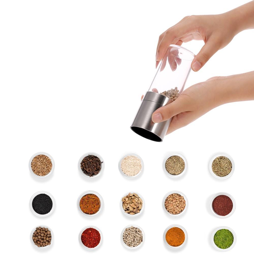 胡椒粉香料研磨器手動旋轉不銹鋼可擕式磨床粉碎機調味料廚房用具