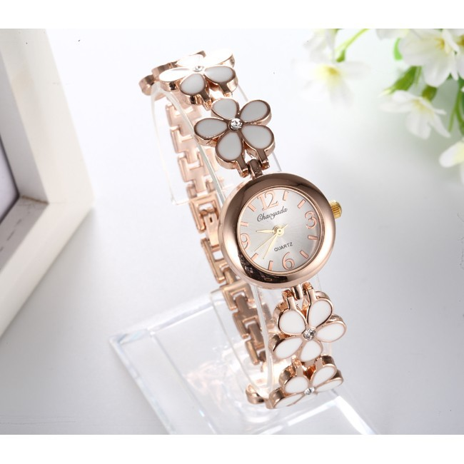2016 女士不銹鋼休閒 白色菊花鑽石手錶