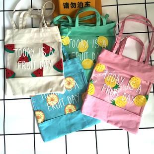4 款水果印花帆布包單肩包布包碎花棉麻包日系女包童趣清新文青出國旅遊文藝ZAKKA 手提包