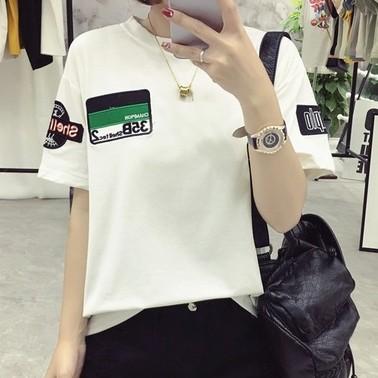 價▲CC 短袖上衣▲2017  半袖小衫貼布字母刺繡上衣韓國寬松顯瘦短袖t 恤 潮流 學生