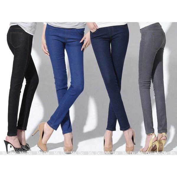 鬆緊牛仔褲5 色中腰顯瘦修身大碼煙管褲靴型褲鉛筆褲彈性