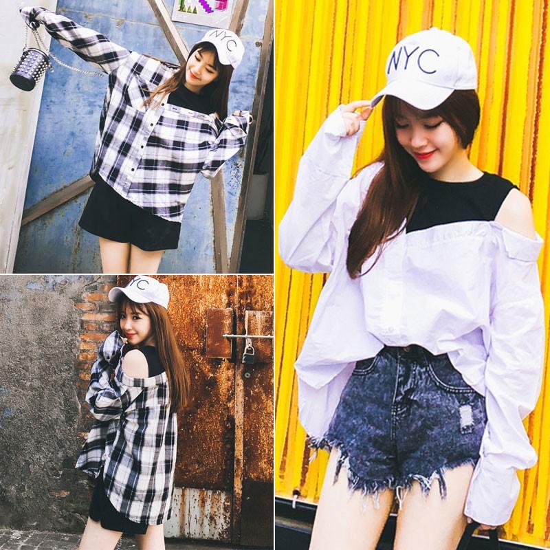 小熊日貨韓系 款 假兩件棉質長袖格子襯衫洋裝均碼兩款女生服飾長袖上衣薄款