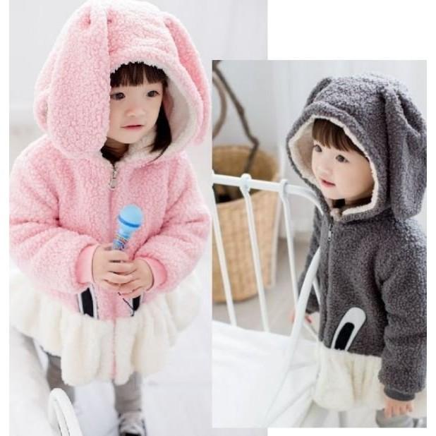 自留 冬款女童兒童寶寶加厚加絨上衣大兔子耳朵厚外套共2 色