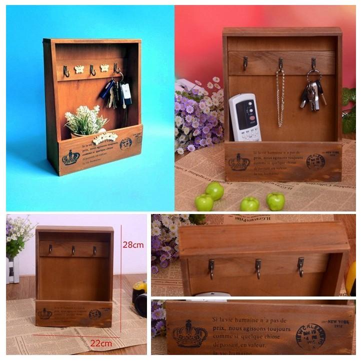 C32 鑰匙盒收納盒木盒木櫃鑰匙木盒木製盒復古木盒咖啡廳開店裝潢鄉村風擺飾