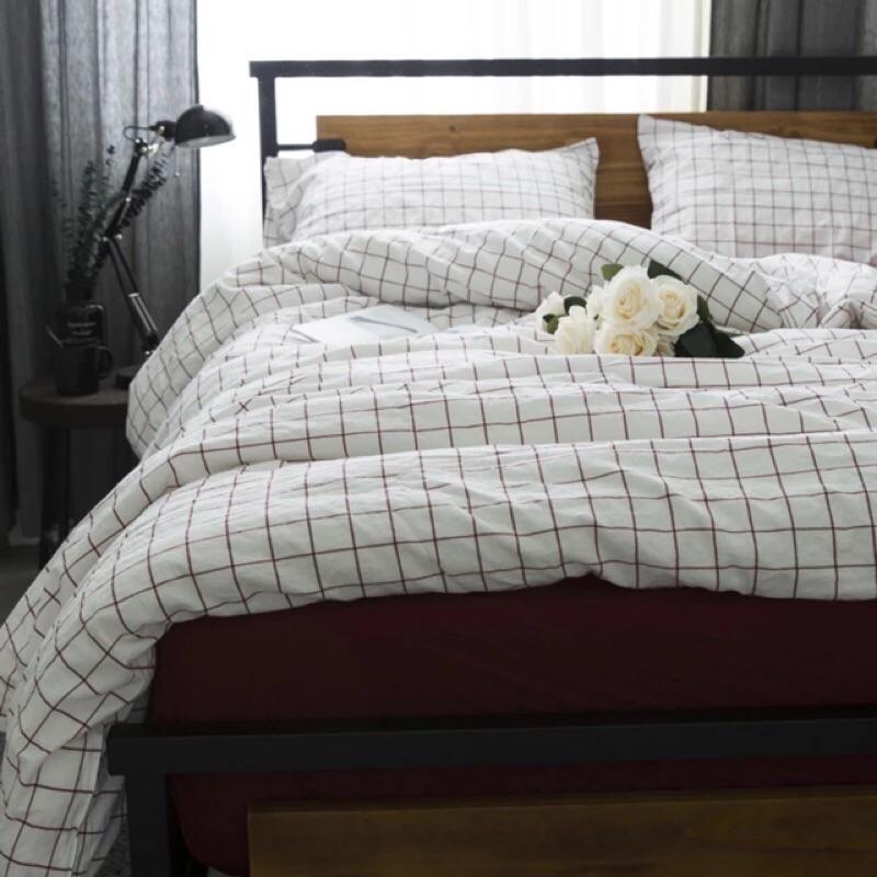 無印良品款白底紅格紋水洗棉純棉床包組床單被套枕套ikea muji 簡約專櫃極簡 格子格紋