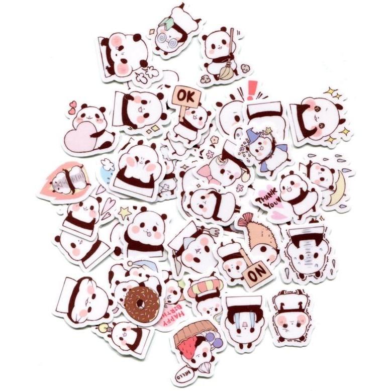 可愛熊貓1 自制手帳相冊防水貼紙40 張345