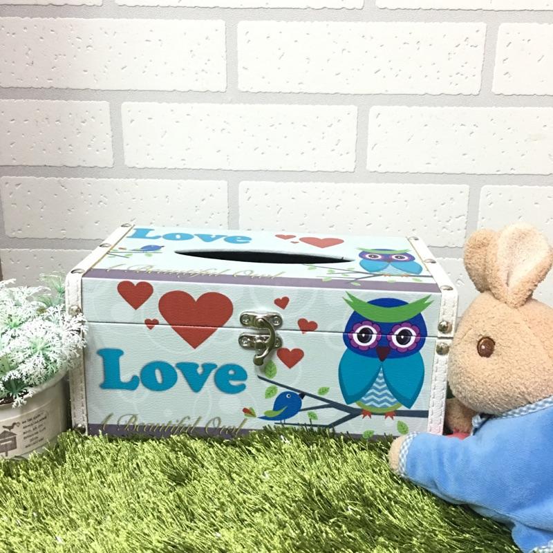 貓頭鷹木質面紙盒面紙盒木質皮革面紙盒田園風格面紙盒木質面紙盒皮革面紙盒