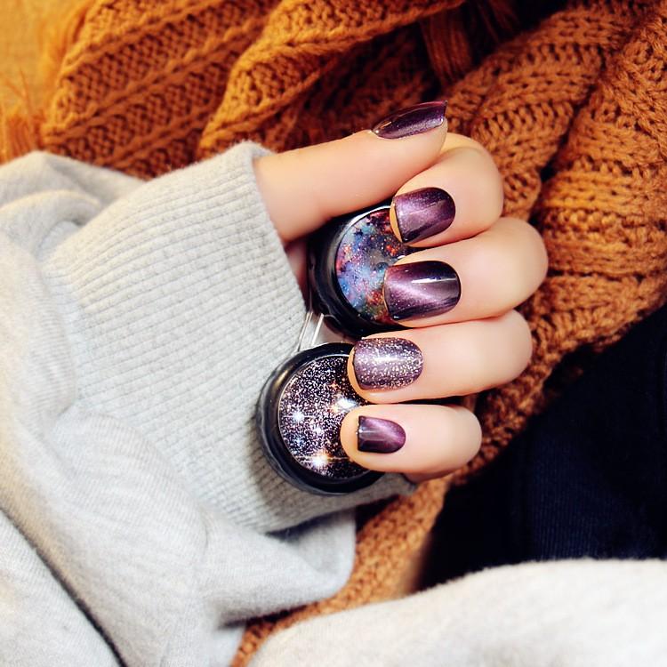紫色貓眼銀閃粉短款星空銀河高 光療跳色假指甲24 片