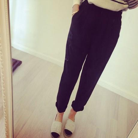 新品松紧腰显瘦哈伦裤显瘦高腰西装裤9 分裤