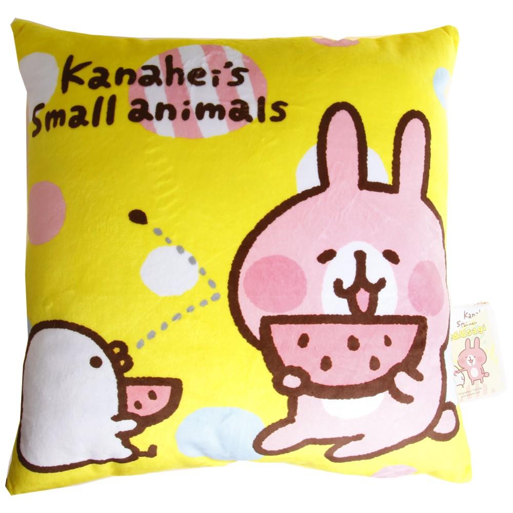 卡娜赫拉的小動物Kanahei 方形抱枕靠枕p 助兔兔吃西瓜黃色小方枕靠墊娃娃枕頭