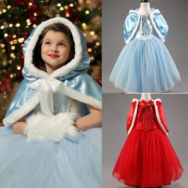 冰雪奇緣變裝服兒童連衣裙灰姑娘公主裙演出服女童晚禮服冰雪奇緣蓬蓬裙紅色裙子