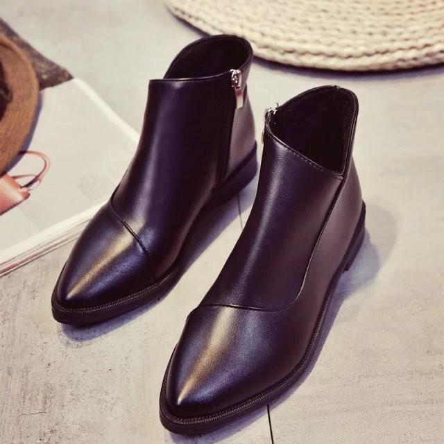 2016 尖頭平底騎士短靴女低跟側拉鏈短筒踝靴春秋 女靴