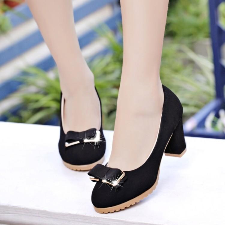 ~ 潮流小鋪~  女鞋亮片坡跟鞋高跟鞋魚嘴鞋圓頭蝴蝶結水晶跟中跟淺口磨砂皮粗跟單鞋