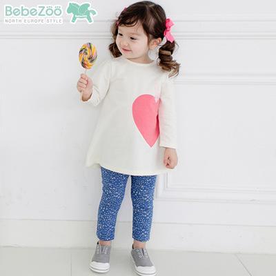 唯唯 韓國 bebezoo 春款女童套裝愛心兔子上衣褲子兩件套80 110cm KB004