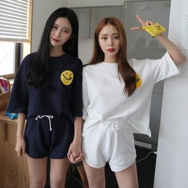 休閒女 兩件套裝夏 短袖短褲跑步 閨蜜學生寬鬆大碼
