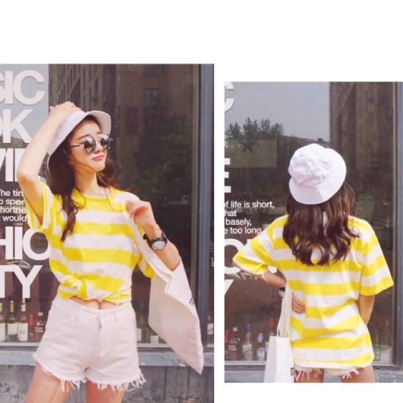 短袖T 恤女休閒圓領黃條紋大碼半袖上衣學生寬鬆