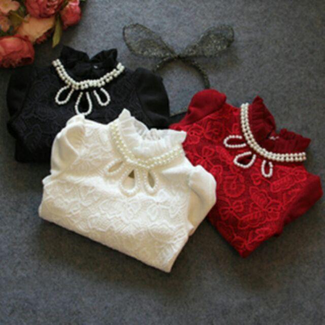 B0104 小童上衣女童珍珠半高領全蕾絲加厚加絨打底衫百搭上衣