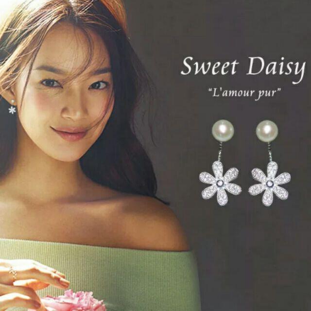 防過敏純銀小耳針韓國優雅女氣質甜美長款耳墜珍珠花朵耳環後掛式